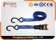 "Cina 1"" x15' Polyester Rubber Grip Ratchet Tie Down Strap 1500 LBS Capacity Cargo Ratchet Straps pabrik"