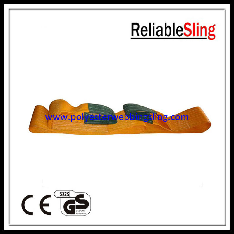 Heavy duty polyester material Orange Flat Webbing Sling with single / multi - ply