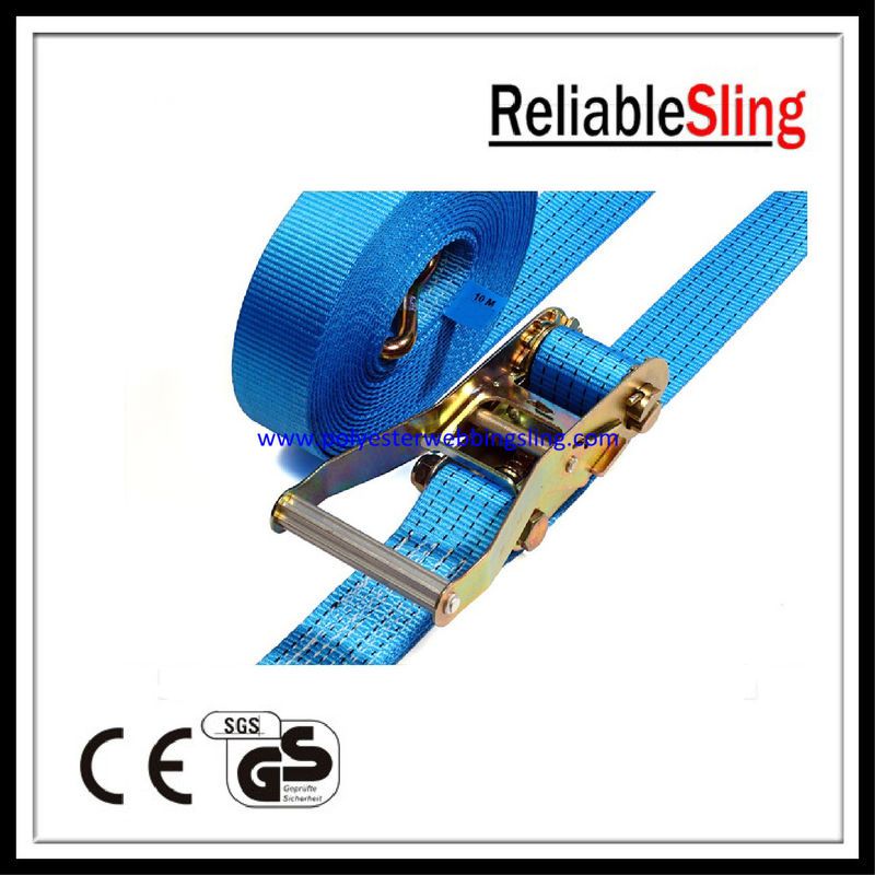 Custom 50mm Polyester Car Tie Down Ratchet Straps Lashing Belt With