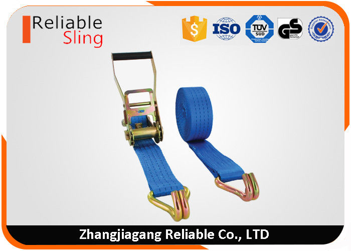 50mm 5 ton plastic covering ratchet truck tie downs with double j hooks for cargo control
