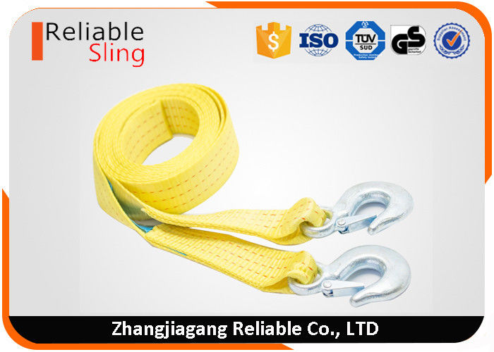 50mm 3 Ton Vehicle Heavy Duty Webbing Straps / Snatch Tow Straps With Forged Hooks