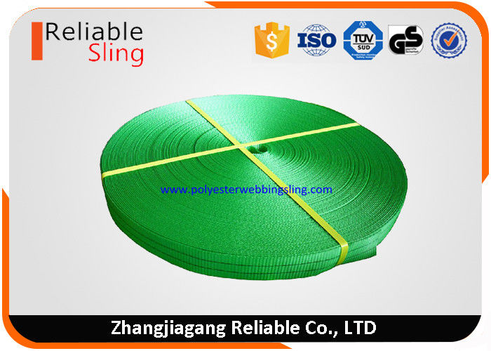 2 Ton 50mm Green Polyester Industrial Webbing / Lifting Webbing Low Elongation