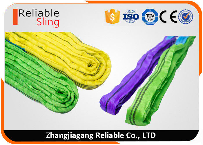 Wear Resistant Round Polyester Web Sling , Heavy Duty Endless Lifting Sling