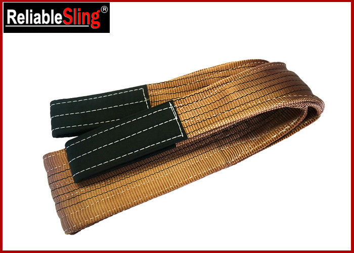 Width 180 mm Polyester Webbing Lifting Slings Safety Factor 7-1 With Reinforced Loop Ends