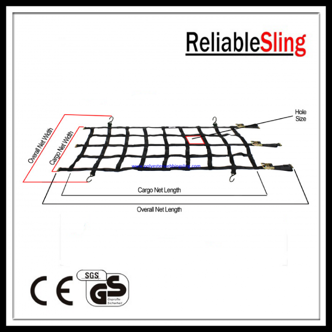 Convenient Polyester Vehicle Webbing Cargo Net with Well resistance