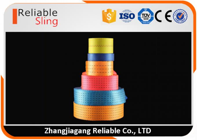 EN Standard Colorful High Tensile Polyester Ratchet Strap Webbing / Flat Weaving Sling