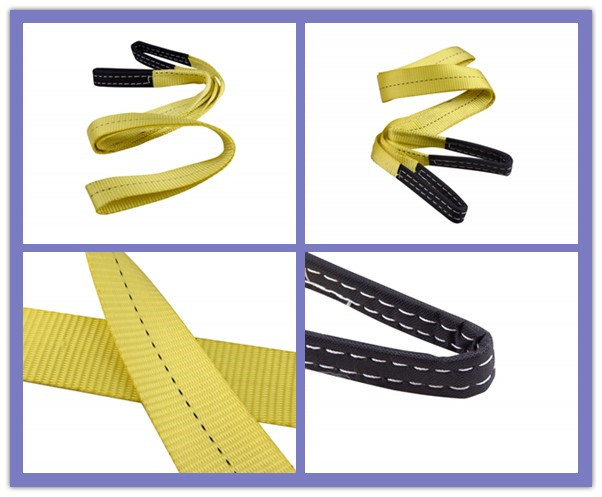 Yellow Ply Flat Eye Sling , Polyester Webbing Sling For Lifting Loads