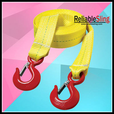 Cina Colored Polyester Heavy Duty Tow Straps Flat With Forged Hooks pabrik
