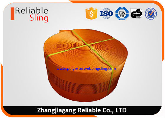 Cina CE Approved 10 Ton Orange  Polyester Sling Webbing For Heavy Duty Lifting Sling pabrik
