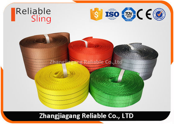 Cina Light weight Color Coded Polyester Cargo Webbing , 25mm-300mm Flat Webbing pabrik