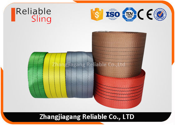 Cina Single Ply Synthetic Woven Polyester Sling Webbing Straps Colorful Flat  Industrial Webbing pabrik
